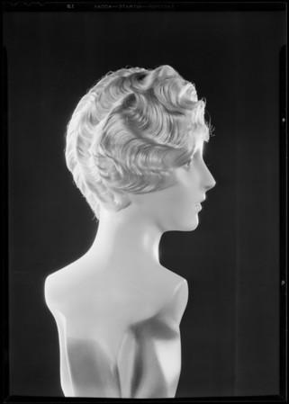 Hair dress on wax figure, May Co., Southern California, 1930