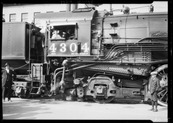 Booster on steam powered locomotive, Southern California, 1924