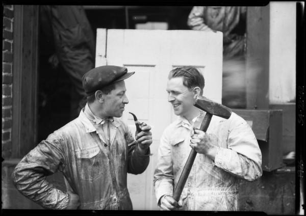 Yellow Cab men at Hollywood garage, Los Angeles, CA, 1925