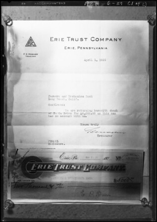 $5000 check and license application, Southern California, 1927