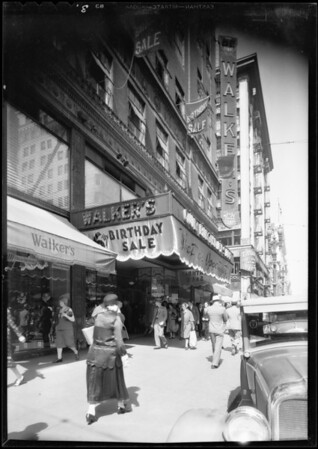 Marquee at Walker's department store, Los Angeles, CA, 1931