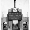A facade of the game clock in the Los Angeles Memorial Coliseum