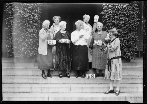 Giving away loaves of bread at hospitals, etc., Southern California, 1928