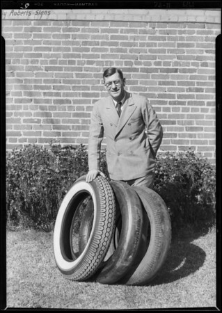 Jack Aleon and tire shop, Southern California, 1929