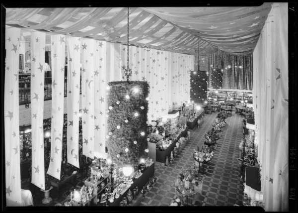 Christmas decorations interior of store, Southern California, 1929