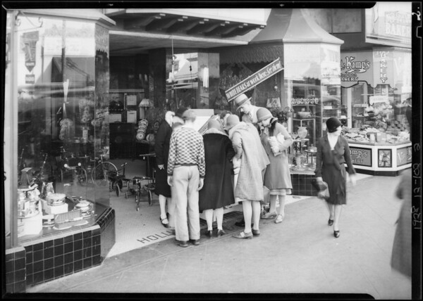 Demonstration in front of Dresslen Hardware Co. store in Hollywood, Southern California, 1928