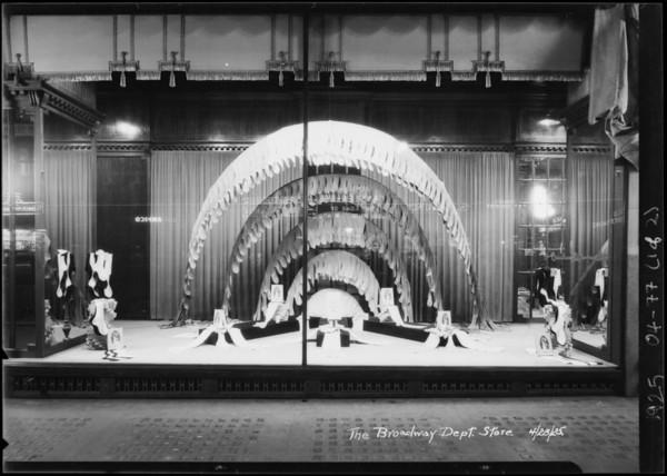 Child's health week and Nightingale hosiery windows, Broadway Department Store, Los Angeles, CA, 1925