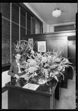 Mr. Carrol & flowers, Los Angeles, CA, 1925