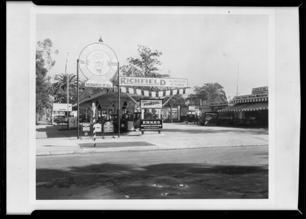Erkes service station, retouched sign, Southern California, 1930