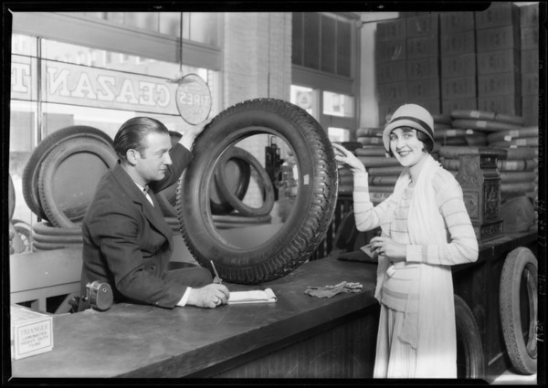 Georgia Biazelle and tires, Ceazan Tire Co., 122 West Washington Street, El Segundo, CA, 1928