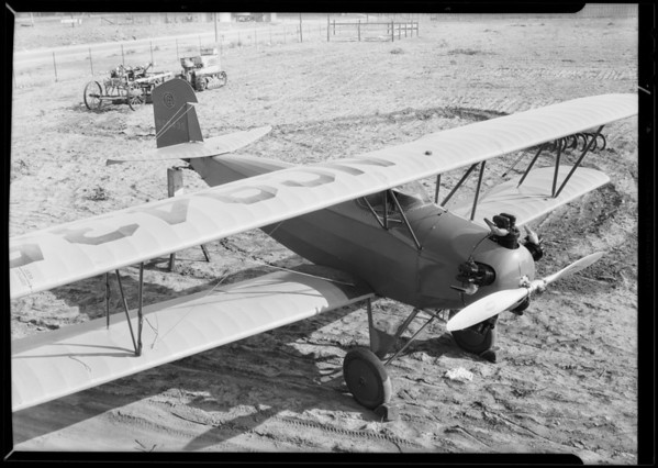 'Flat' plane at Kinner hangar for artist's angle, Southern California, 1930