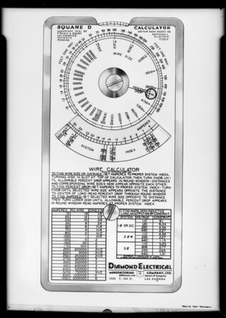 Wire calculator retouched, Southern California, 1931