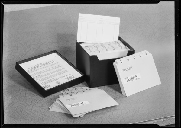 File box, Pennzoil Co., Southern California, 1930