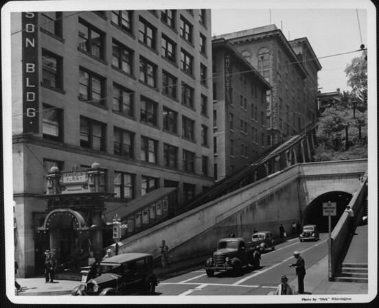 A view of the Angels Flight Terminal seen from the corner of Third Street and Hill Street