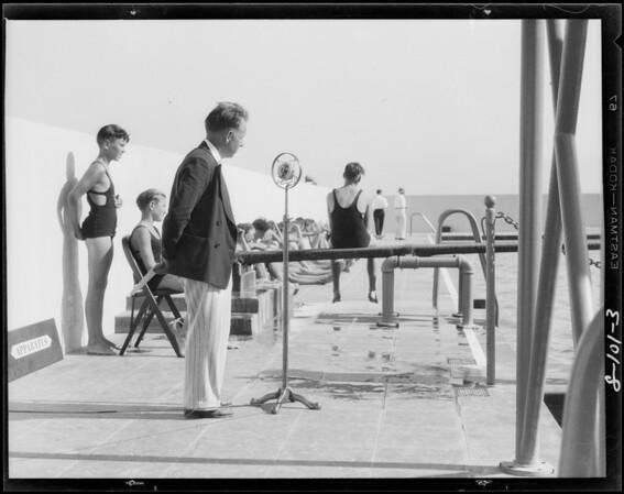 Swimming shots at pool, Southern California, 1928
