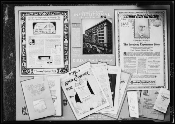 Copies of advertising displays, Broadway Department Store, Southern California, 1925