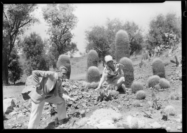 Mr. and Mrs. Grey at cactus garden, Southern California, 1928