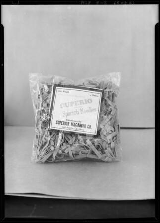 Package of macaroni, Superior Macaroni Co., Southern California, 1928