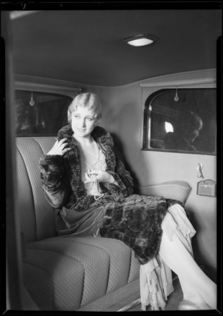 Woman with furs & jewelry, Southern California, 1930
