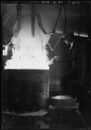Samples of moulds, electric furnace, Southern California, 1927