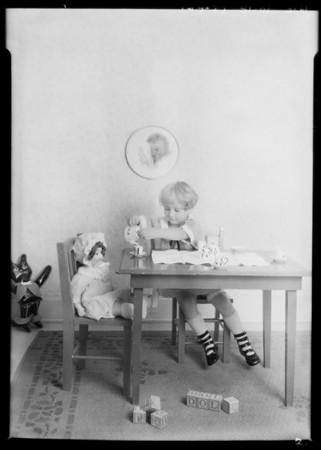 Children's toys, etc., shot in studio, Southern California, 1925