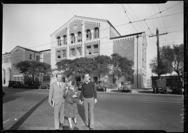 Shots on University of Southern California campus for Clerk of Herald, Los Angeles, CA, 1928