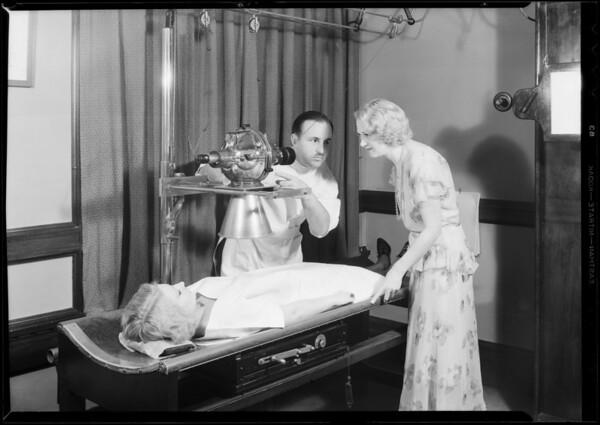 Radio girl and x-ray machine, Dr. Martyn, Southern California, 1931