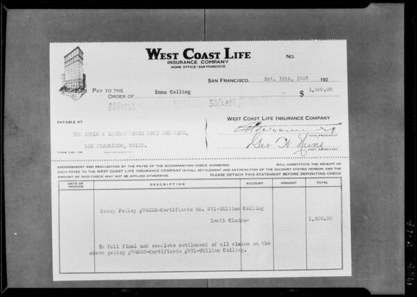 $1500 check, Southern California, 1927