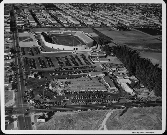 An aerial view of Farmers Market and Gilmore Stadium, looking north