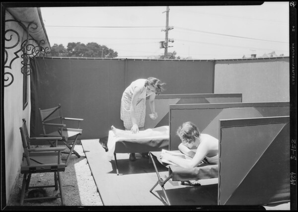 Sun baths on roof, Southern California, 1929