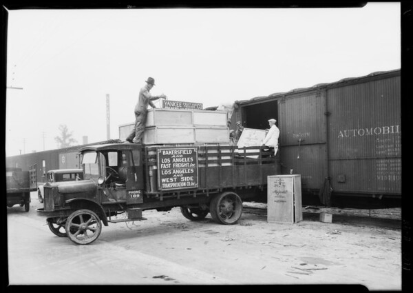 Loading truck for Bakersfield, Southern California, 1928