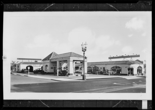 Retouched service station, Southern California, 1931