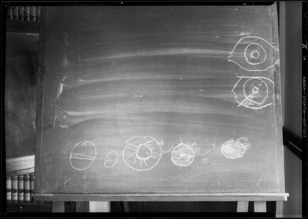 Blackboard, drawing of eye, department 11-hall records, Los Angeles, CA, 1931