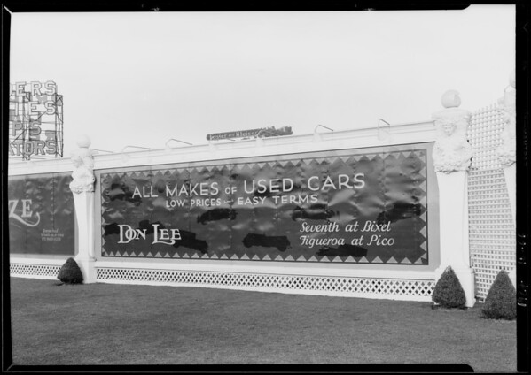 Don Lee used car board at West 28th Street & South Figueroa Street, Los Angeles, CA, 1927