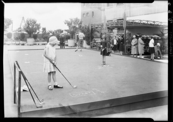Publicity shots relative & show on roof, Southern California, 1929