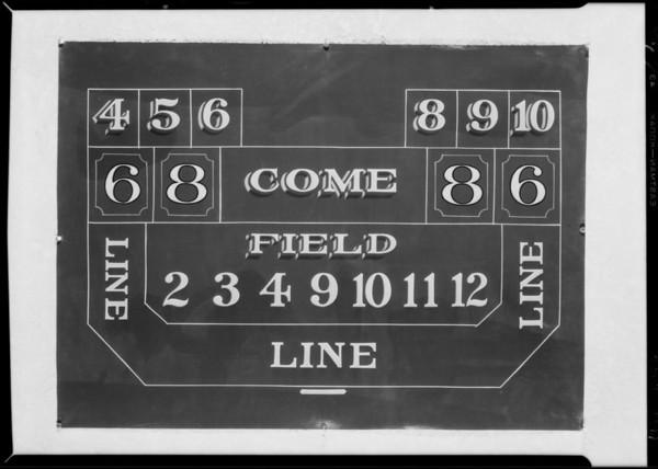 Gambling table oil cloths, Southern California, 1929