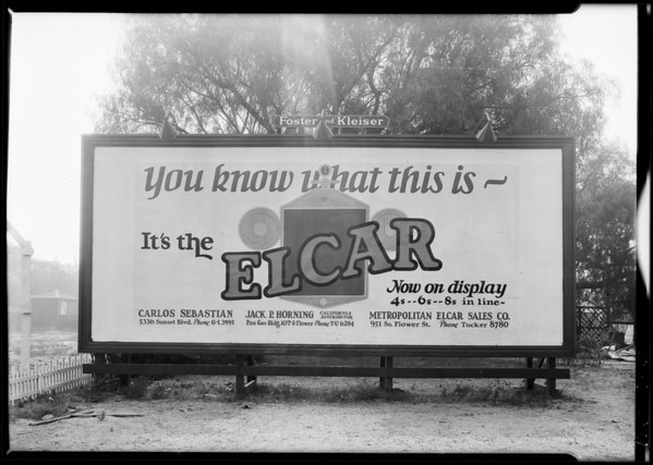 Sign board at Exposition Boulevard & South Figueroa Street, Los Angeles, CA, 1925