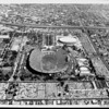 An aerial view of the Los Angeles Memorial Coliseum