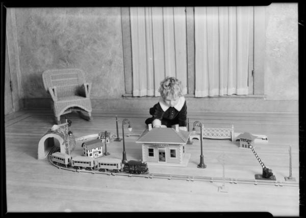 Children's toys, etc., shot in studio, Southern California, 1925