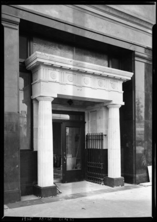 Entrance - Pico & Normandie branch, Pacific-Southwest Bank, Los Angeles, CA, 1925