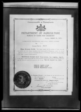 Copy of license, Mission Orange Juice, Southern California, 1928