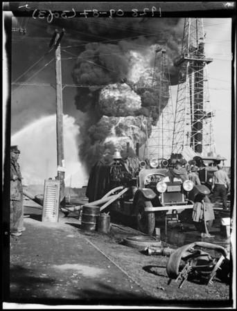 Oil well fire, Santa Fe Springs, CA, 1928