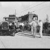 Pacific Electric emergency truck at scene of wreck, Los Angeles, CA, 1929
