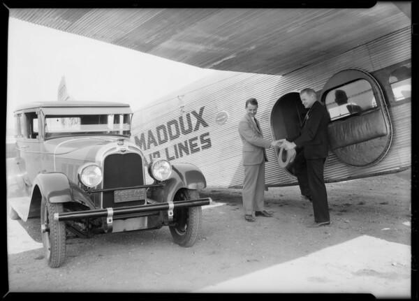 Warner (Australian flyer) at Maddux field on India tires, Southern California, 1928