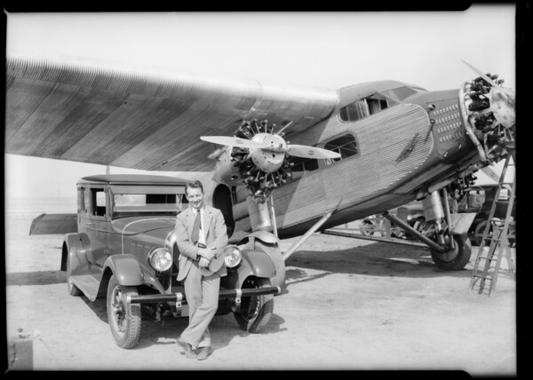 Warner (Australian flyer) at Maddux field on India tires, Southern California, 1928
