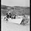 Society groups on beach at Bay Club, Pacific Palisades, Los Angeles, CA, 1931
