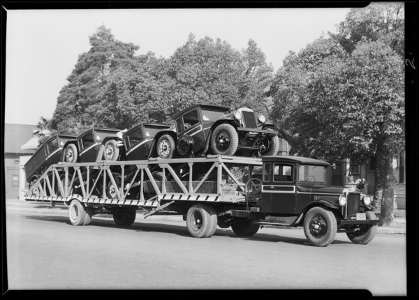 Trucks on truck, Taylor Truck & Trailer Co., Southern California, 1930