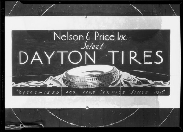 Drawing of Dayton Rubber billboard, Southern California, 1929