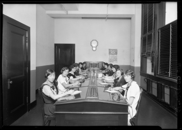 Switchboard, phone personnel service room, Broadway Department Store, Los Angeles, CA, 1925