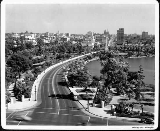 An aerial view of the MacArthur Park looking west